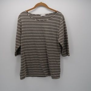Thyme and Honey Gray White Stripe Top Size M